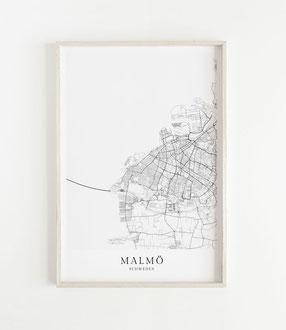 Malmö Karte als Poster im skandinavischen Stil