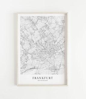Karte als Poster von Frankfurt
