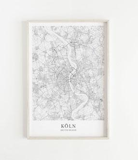 Karte als Poster von Köln