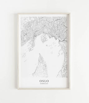 Oslo Karte als Poster im skandinavischen Stil