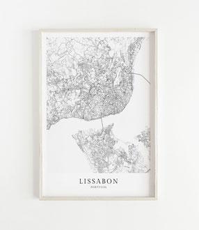 Karte als Poster von Zürich