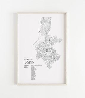 Karte von Hamburg Nord als Poster Map