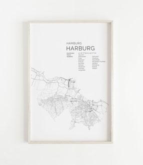 Karte von Hamburg Harburg als Poster Map