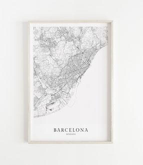 Karte als Poster von Barcelona