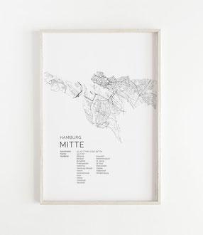 Karte von Hamburg Mitte als Poster Map