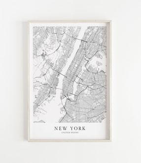 Karte als Poster von New York