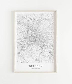 Karte als Poster von Dresden
