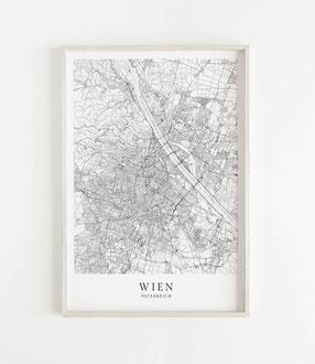 Karte als Poster von Wien
