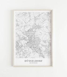 Karte als Poster von Düsseldorf
