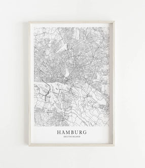 Hamburg Karte als Poster Map