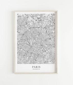Karte als Poster von Paris