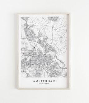 Karte als Poster von Amsterdam