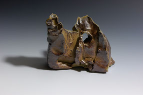 "Land Memory series #2, other view. Woodfired stoneware.   4.75"" x 5"" x 2"""