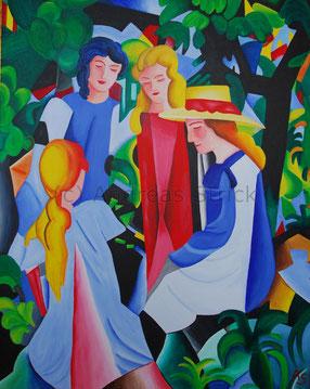 Vier Mädchen, 80 x 100 cm, Juni 2012, Acryl auf Leinwand