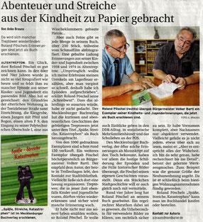 2013, 16. August: Zeitungsartikel betreffs der Buchübergabe an den Bürgermeister von Altentreptow, Volker Bartl (Nordkurier, Treptower Tageblatt)