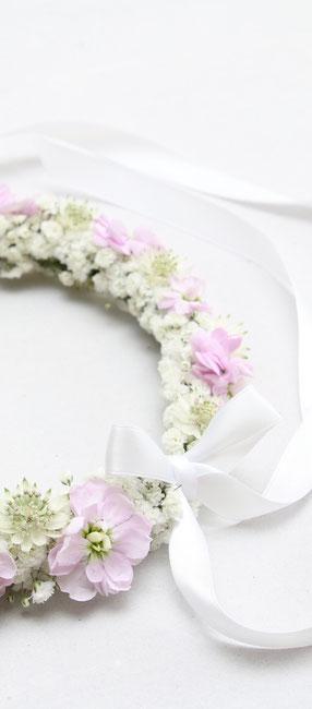 Blumenkranz für Kopf weiss rosa