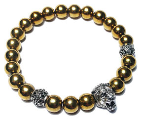 Lion (gold) gemstone beads bracelet with 925 sterling silver made by BeHero