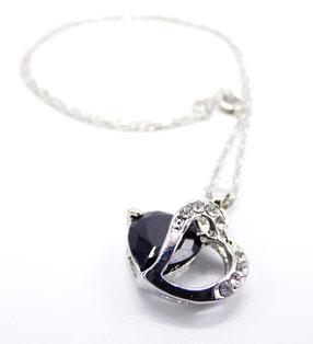 collier en argent coeur en cristal noir et zirconium cadeau saint valentin