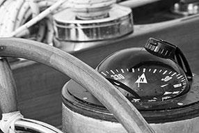 Navigation an Bord und Steuerrad Detaillansicht