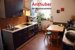 Bild: Küche nach der Verlegung eines neuen Vinyl Bodens der von Firma Anthuber verlegt wurde