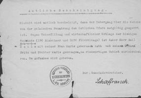 Amtliche Bescheinigung des Gemeindsvorstands Kunnerwitz, Landkreis Görlitz