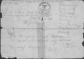 Handschriftliche Aufzeichnungen Rückseite Marschbefehl für den Treck Hohenfriedeburg