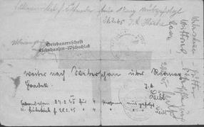 Handschriftliche Aufzeichnungen Rückseite Marschbefehl Leitmeritz nach Bilin
