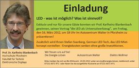 Einladung zur LED-Veranstaltung von Elektro Wollmer GmbH und Energie Lotsen GmbH