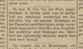Mededeling  Rotterdamsch Nieuwsblad 22-11-1888