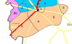 Partie centre sud de la carte des commanderies de la Vienne