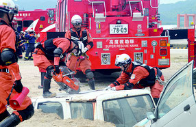 大原港を主会場とした県総合防災訓練が行われた=3日、大原港
