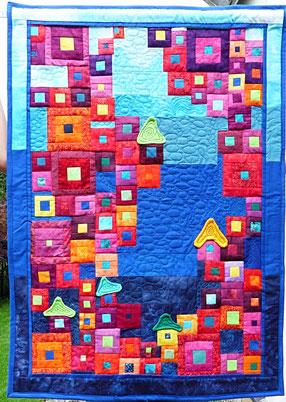 Stoffartistik kunstst cke aus stoff wandbeh nge - Wandbehang patchwork ...