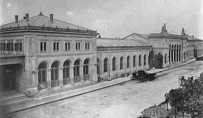 Seitenpavillon der SCB (links); Quelle: Staatsarchiv Basel-Stadt, NEG 1445