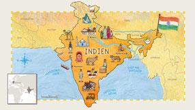 Mit einer Größe von 3.287.263 km² ist Indien das siebtgrößte Land der Welt. In dem südostasiatischen Land leben 1,3 Mrd Menschen. Damit ist Indien nach China das Land mit der zweitgrößten Bevölkerung weltweit und rechnerisch ist jeder 6. Weltbürger Inder.