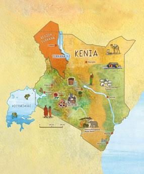 Mit einer Fläche von 580.000 km² ist Kenia etwa doppelt so groß wie Italien. 45 Millionen Menschen leben in dem ostafrikanischen Land, die Hauptstadt ist Nairobi. Kenia ist ein Vielvölkerstaat. Es gibt mehr als 40 Ethnien, die rund 50 verschiedene Sprache