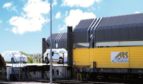 Volvo cars are loaded on board a freight train – credit: Altmann