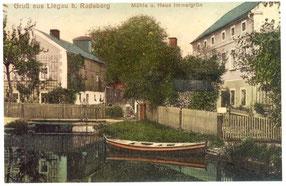 Dorfmühle Liegau (linkes Gebäude) mit Wehrteich und Mühlgraben, um 1915