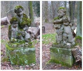 Die beiden Stein-Putten an der Grundmühle, Aufnahme / Zustand 2016