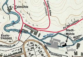 Das Gebiet um die ehemalige Stadtmühle. Links die große Röder-Schlaufe. Basiskarte: Stadtplan 1936. Grafik: Verfasser