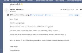 Hendrik Martius: Feedback zum Artikel Heinrich von Martius