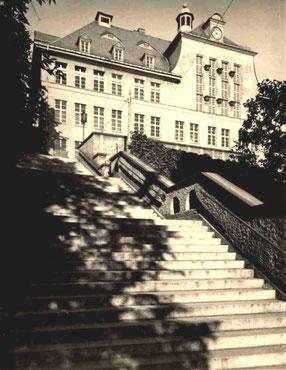 Gymnasium Radeberg auf dem Freudenberg. Die Freitreppe zum Freudenberg.