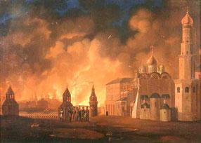 Brand von Moskau 1812. Rechts der Kreml.