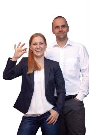 Patrick Herrmann (re.) und Elena Herrmann (lks.)
