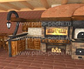 проект барбекю кухни с беседкой мангалом русской печью казан вертел духовка