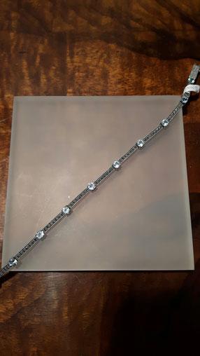 Markasit Armband auf Sterling Silber mit Blau Topas od. Granat