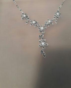Markasit Collier mit echten Perlen auf Silber