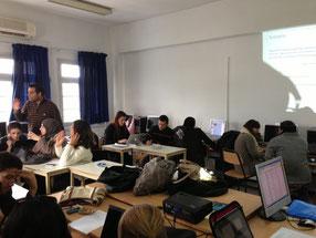 Teilnehmer eines Plaspielentwicklungsworkshops zur Arabischen Liga an der Universität Karthago