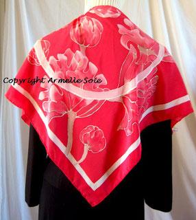 Foulard, écharpe, soie, naturelle, peint main, fait main, rouge, multicolore, fleur, fabriqué en France, Bretagne,
