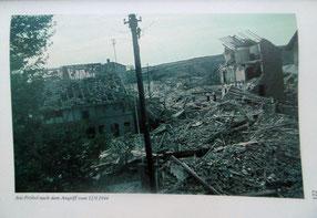 """Am Pröbel, 12.09.1944 Bild aus: """"Die Bevölkerung hatte Verluste"""" von Günter Sagan, Verlag Parzeller"""