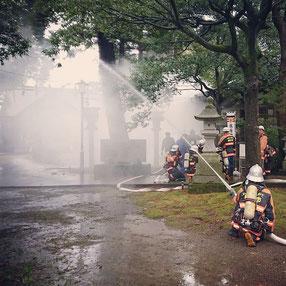 十社大神 消防訓練 放水
